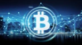 Bitcoins échange le rendu du fond 3D Images stock