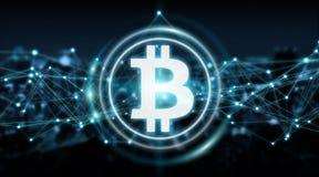 Bitcoins échange le rendu du fond 3D Photo libre de droits