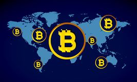 Bitcoins över blåttöversikt från överkant Royaltyfria Bilder