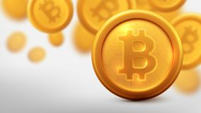 Bitcoins και νέα εικονική έννοια χρημάτων Υπόβαθρο του χρυσού νομίσματος στοκ φωτογραφία με δικαίωμα ελεύθερης χρήσης