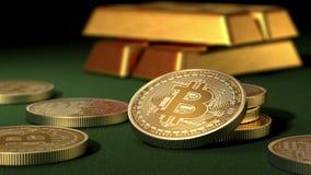 Bitcoins και χρυσά πλινθώματα σε έναν πράσινο πίνακα απεικόνιση αποθεμάτων