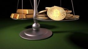 Bitcoins και χρυσά πλινθώματα στις κλίμακες, τρισδιάστατη ζωτικότητα ελεύθερη απεικόνιση δικαιώματος