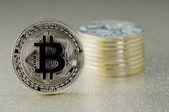 Bitcoins - νομίσματα του cryptocurrency Στοκ Φωτογραφίες