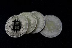 Bitcoins - νομίσματα του cryptocurrency Στοκ Φωτογραφία