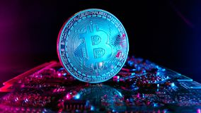 Bitcoins - το νέο σύγχρονο νόμισμα για τις πληρωμές bitcoin Στοκ φωτογραφία με δικαίωμα ελεύθερης χρήσης