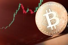 Bitcoins и новая виртуальная концепция денег Bitcoins золота с диаграммой диаграммы ручки свечи и цифровой предпосылкой Стоковая Фотография RF