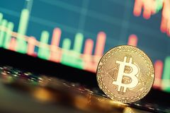 Bitcoins и новая виртуальная концепция денег Bitcoins золота с диаграммой диаграммы ручки свечи и цифровой предпосылкой Стоковое Изображение