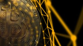 Bitcoins, новые виртуальные деньги на различной цифровой предпосылке, 3D представляет Стоковые Фотографии RF