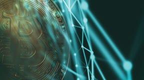Bitcoins, новые виртуальные деньги на различной цифровой предпосылке, 3D представляет Стоковые Фото