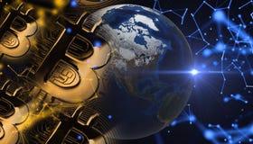 Bitcoins, новые виртуальные деньги на различной цифровой предпосылке, 3D представляет Стоковая Фотография