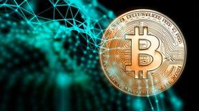 Bitcoins, новые виртуальные деньги на различной цифровой предпосылке, 3D представляет Стоковая Фотография RF