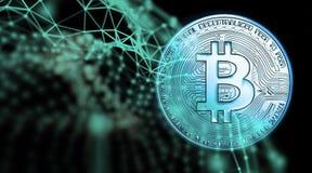 Bitcoins, новые виртуальные деньги на различной цифровой предпосылке, 3D представляет Стоковое Изображение