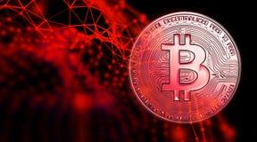 Bitcoins, новые виртуальные деньги на различной цифровой предпосылке, 3D представляет Стоковое фото RF