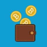 Bitcoins торгуя плоскими значками Стоковые Изображения