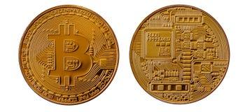 Bitcoins 物理位硬币 数字式货币 Cryptocurrency采矿概念 在白色b与bitcoin标志的两枚硬币隔绝的 免版税库存照片