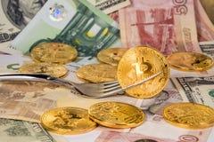 Bitcoins Imágenes de archivo libres de regalías