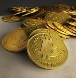 金bitcoins 免版税图库摄影