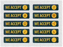 Bitcoins are accepted here. Icons in a flat style. Bitcoins are accepted here. 10 Icons in a flat style Stock Photo