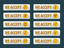 Bitcoins are accepted here. Icons in a flat style royalty free illustration