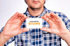 Bitcoins acceptera Arkivbild