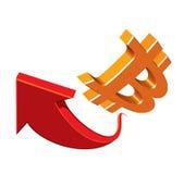 Bitcoins - argent virtuel Symbole Flèche rouge Images stock