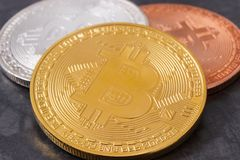 Bitcoins as virtual money, cryptocurrency and international network payment royalty free stock photos
