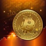 Bitcoins astratti di tecnologia Vector il concetto online della tecnologia di Internet di estrazione mineraria del bitcoin dell'i Fotografie Stock Libere da Diritti