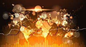Bitcoins au-dessus de fond Finacial de carte du monde dresse une carte et représente graphiquement le crypto concept moderne d'ar illustration de vecteur