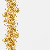 Bitcoins background. Bitcoin golden coins in white background Stock Photography