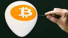 Bitcoins - bit coin BTC the new virtual money on balloon with ne Royalty Free Stock Photos