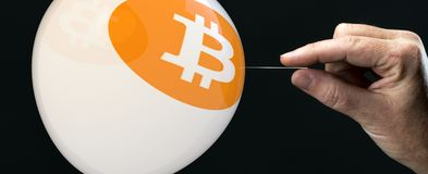 Bitcoins - bit coin BTC the new virtual money on balloon with ne Stock Photos