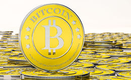 Bitcoins, bit coin BTC the new virtual money Royalty Free Stock Photography