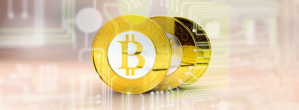 Bitcoins, bit coin BTC the new virtual money Royalty Free Stock Photo