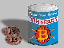 Bitcoins Bitcoins recientemente minado en lata Imagen de archivo