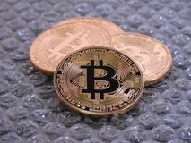Bitcoins on bubble Background Royalty Free Stock Images