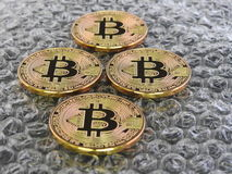 Bitcoins on bubble Background Stock Photography