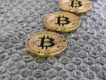 Bitcoins on bubble Background Stock Photos