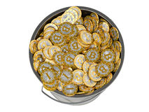 Bitcoins in a Bucket - isolated on white Stock Photography
