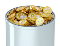 Bitcoins in a bucket Stock Images