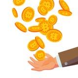 Bitcoins che cade al vettore della mano di affari Piano, illustrazione delle monete di oro del fumetto Progettazione della moneta Fotografia Stock