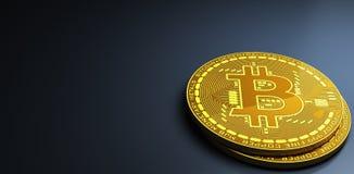 Bitcoins che mette su superficie riflettente, rappresentazione 3d Fotografia Stock
