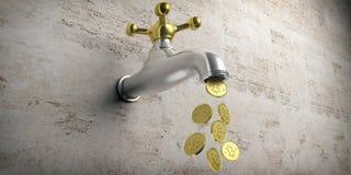 Bitcoins che scorre da un rubinetto d'argento dorato su fondo beige illustrazione 3D Fotografia Stock