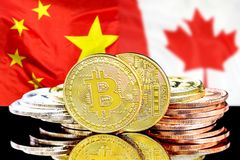 Bitcoins on China and Canada flag background. Bitcoins on the background of the flag China and Canada. Concept for investors in cryptocurrency and Blockchain royalty free stock image