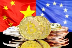 Bitcoins on China and European Union flag background. Bitcoins on the background of the flag China and European Union. Concept for investors in cryptocurrency stock images
