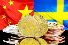 Bitcoins on China and Sweden flag background. Bitcoins on the background of the flag China and Sweden. Concept for investors in cryptocurrency and Blockchain royalty free stock images
