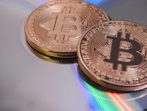 Bitcoins and colors Royalty Free Stock Image