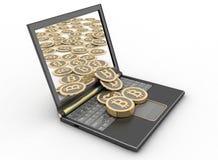 Bitcoins com laptop ilustração 3D Imagem de Stock Royalty Free