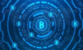 Bitcoins con HUD Elements, mapa del mundo binario, BTC, dinero virtual, moneda Crypto ilustración del vector