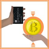 Bitcoins concept of sharing. Movement of funds online bank card and gold coin bitkoyn vector illustration