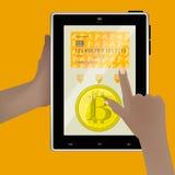 Bitcoins conclusión al banco ilustración del vector